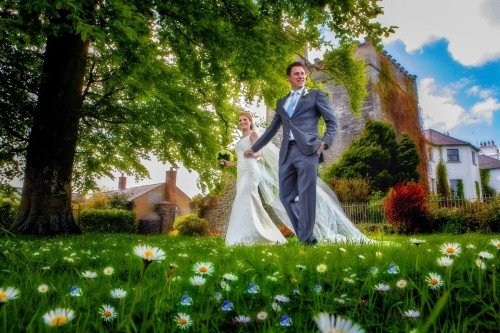daisies, creative, bride and groom portrait, castle wedding, real wedding at Barberstown Castle, long veil