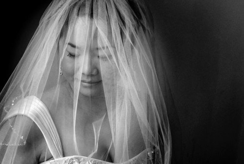bride putting on the veil,  veil shot,  documentary style, natural, reportage, candid, black and white, bride with veil covering face, creative