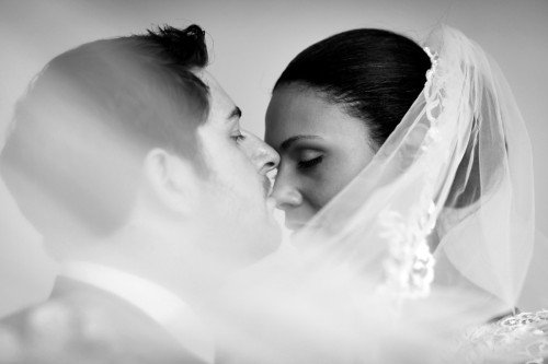 veil kiss, real wedding at Carton House, black and white, veil shot