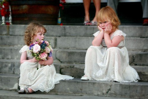 flowergirls on steps, flowergirl bouquet, bored flowergirls, Bellinter House, real wedding, flowergirl dresses