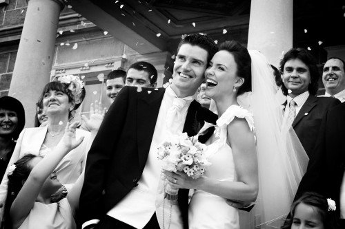 confetti shot, carton house real wedding, wedding action, reportage of bride and groom