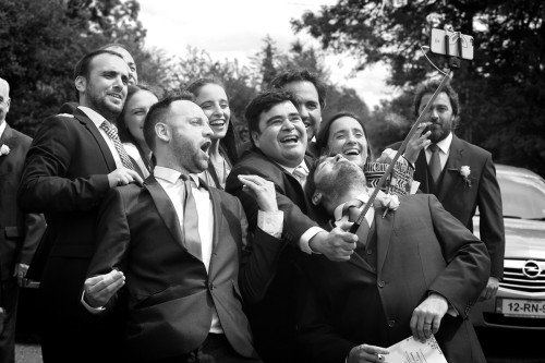 group selfie, black & white, wedding fun, guys having fun, lough rynn  castle real wedding