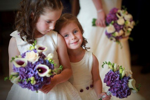 cute flowergirls, flowergirl dresses, flowergirl bouquets, lilly weddomg bouquet, purple wedding bouquet, flowergirl sisters