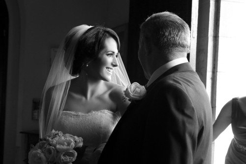 Bride with Dad at Church door, natural light, black and white, contrasty, bride with dad, bride at church door, natural, documentary style