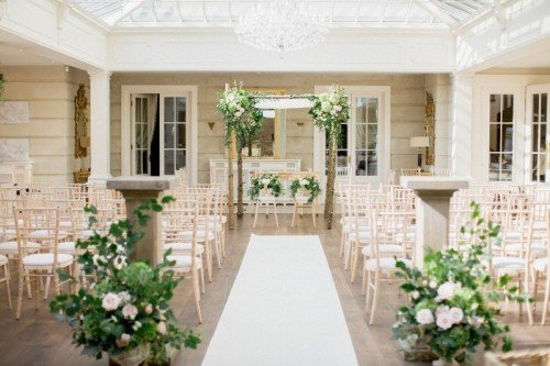 The Orangery lends itself to the perfect space for an indoor wedding ceremony