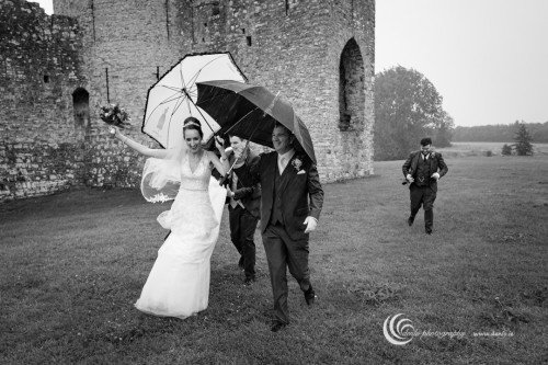 Trim Castle Hotel bridal party in the rain