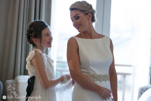 Bride and daughter getting read at Druids Glen