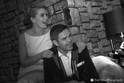 Bride and Groom relaxing after meal at Druids Glen