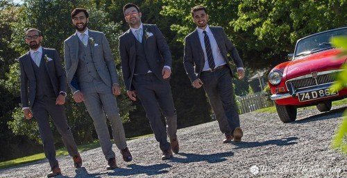 Groom and his best men at Ardgillan Castle