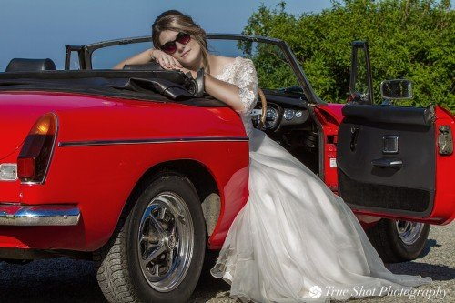 Bride and car at Ardgillan Castle