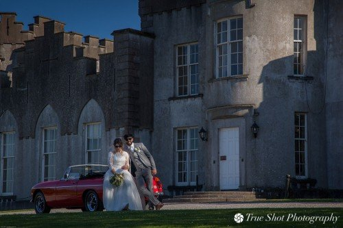 Bride and Groom in front of Ardgillan Castle