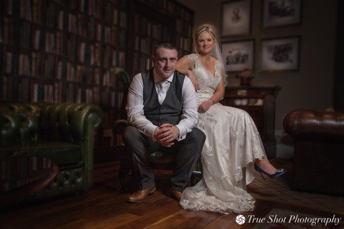 Bride and Groom in Mount Wolseley's library
