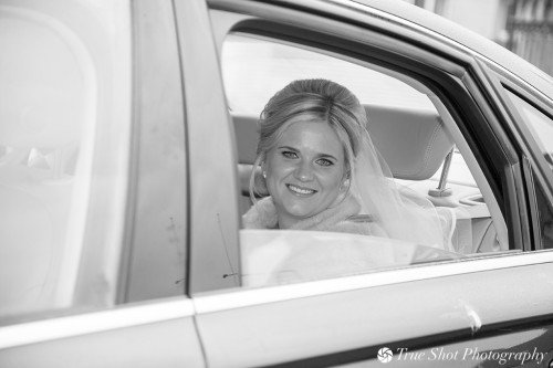 Bride arriving to St. Aidans church in her car