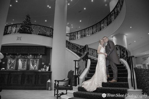Bride and Groom on Mount Wolseley's sweeping staircase