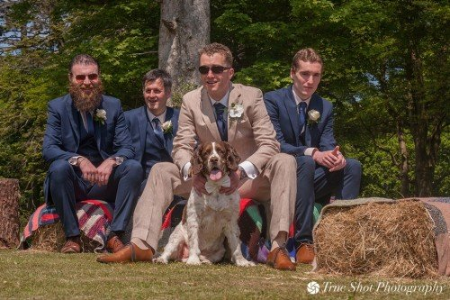 Groom and best men and dog before the ceremony at Kippure Estate