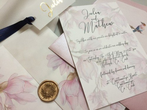 vellum with wax seal wedding invitation