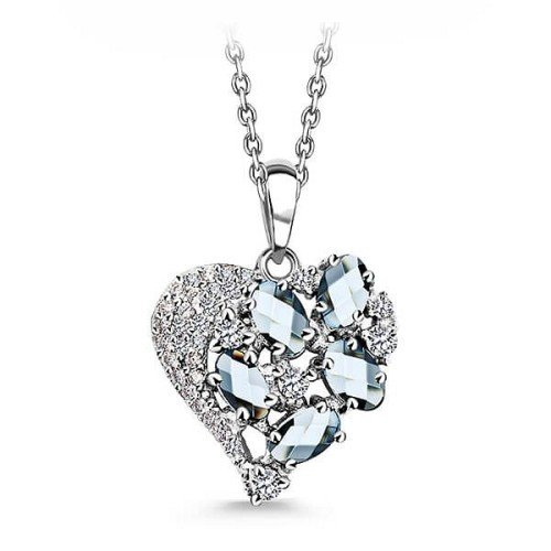Venetian Glass with Cubic Zirconia Heart Pendant