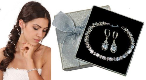 DAISY Vintage Style Crystal Teardrop Earring and Bracelet Silver Wedding Set