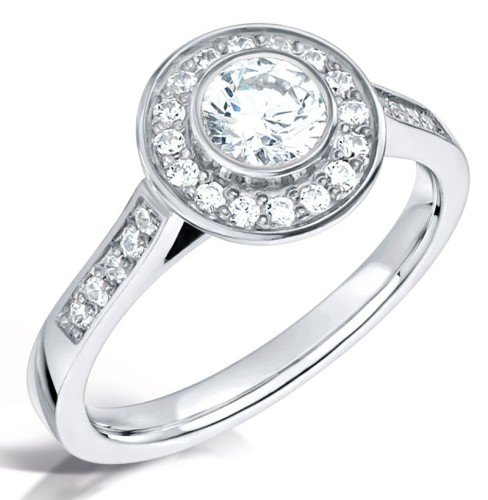 Vintage style round halo engagement ring