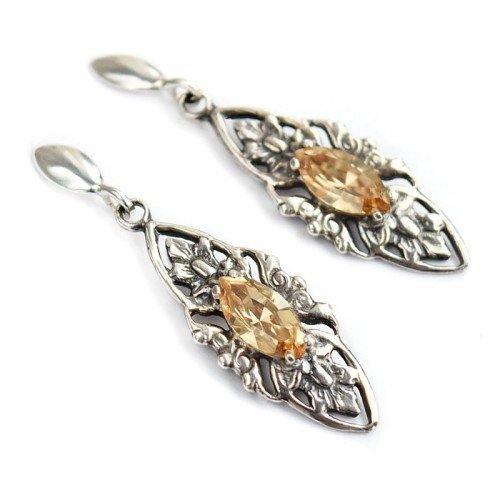 VIVIENNE Retro Golden Shadow Swarovski Crystal Earrings