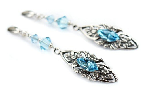 VIVIENNE Retro Vinatge Aquamarine Swarovski Crystal Earrings
