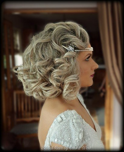 vintage bridal hair waves medium hair