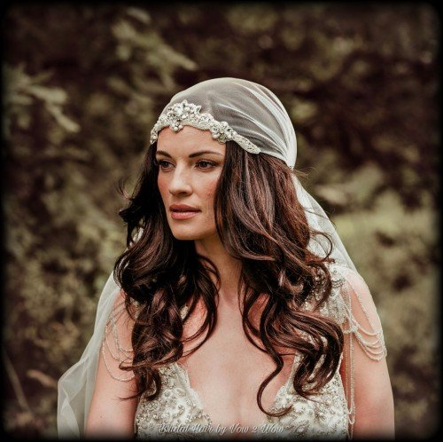 Bridal Hair down juliet cap veil