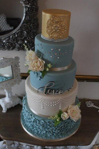 Something Blue Wedding Cake - Cherub Couture Cakes