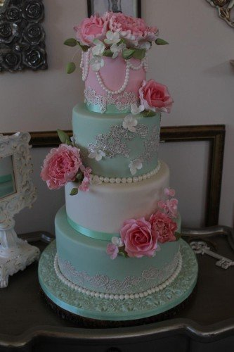 Shabby Chic Mint and Pink Wedding Cake - Cherub Couture Cakes
