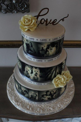Sepia Photograph Wedding Cake - Cherub Couture Cakes