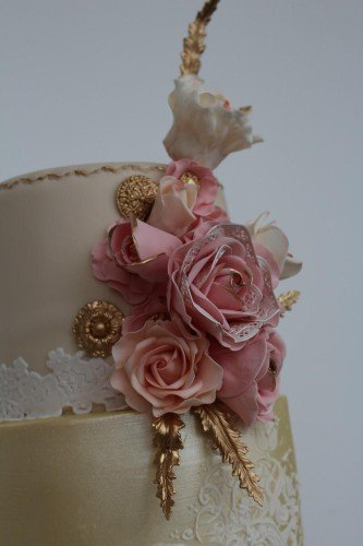 Ivory, Rose and Gold Stencilled Wedding Cake - Cherub Couture Cakes