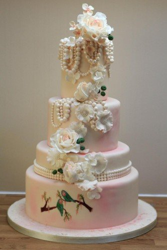 Vintage Birds and Pearls Wedding Cakes - Cherub Couture Cakes