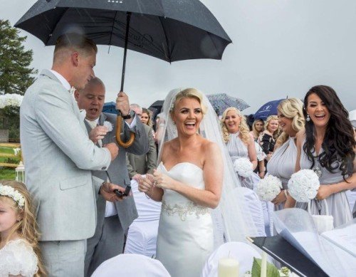 'Just Married' in Outdoor Ceremony at The Avon Lakeshore Wedding Venue, Blessington Lakes