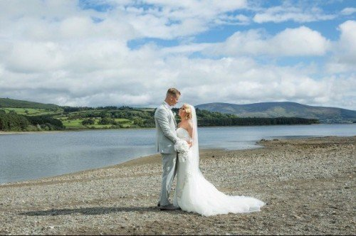 Wedding Couple on the private lake beach - The Avon Lakeshore Wedding Venue, Blessington Lakes