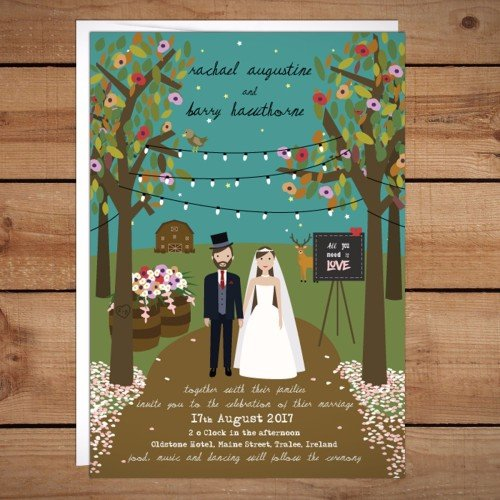 Rustic Couple Wedding Invitation