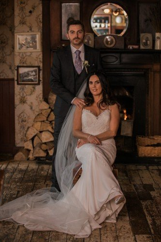 Wedding portrait of Newlywed couple at the Anglers Rest in Dublin