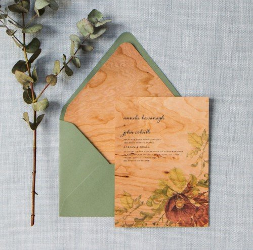 wood luxury wedding invitation by savethedate.ie