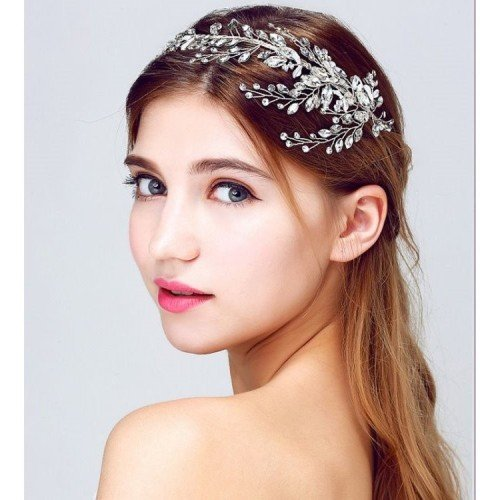 YASMIN Delicate Crystal Leaves Bridal Headpiece