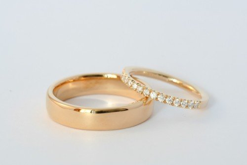 Yellow gold and diamind set wedding bands