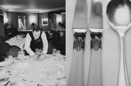 table decorations Rathsallagh wedding, wedding details Rathsallagh House, black and white, documentary