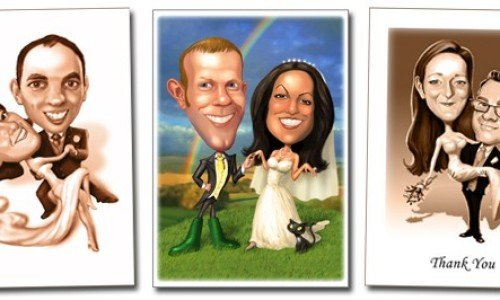 Unique, bespoke invitations!  Caricatures by Mark Heng-  Drawing Smiles since 1990!