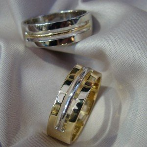 8mm Two Tone Gents Wedding rings