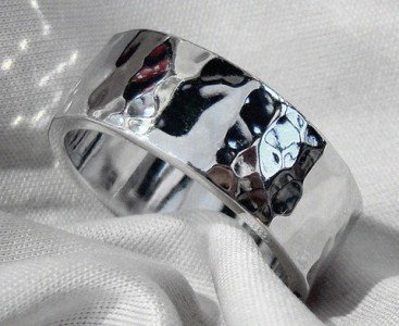 8mm White Gold Hammered Ring with High Polish Finish