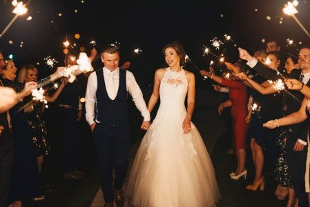 A romantic Sparklers Display from Our lovely Bride & Groom on Our Back Garden