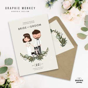 Bespoke Cartoon Wedding Invitation