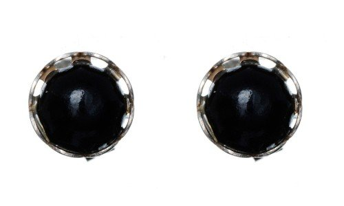 Black Round Lace Onyx Stud Earring