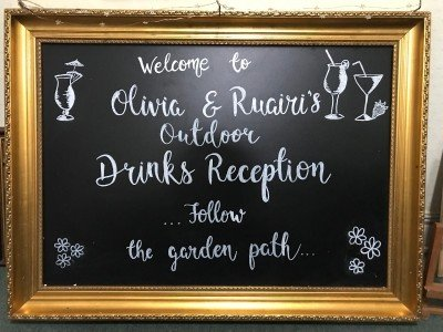 Outdoor Reception Personalised Blackboard/ Hotel Wedding Venues | Great National Abbey Court Hotel