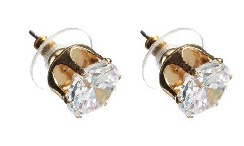 Cubic Zirconia 10mm Gold Stud Earring