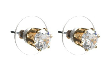 Cubic Zirconia 6mm Gold Stud Earring