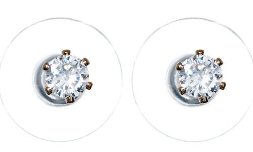 Cubic Zirconia Gold Claw Set Earring 3mm